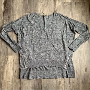 Express Black White Marled Zipper Sweater Dolman M